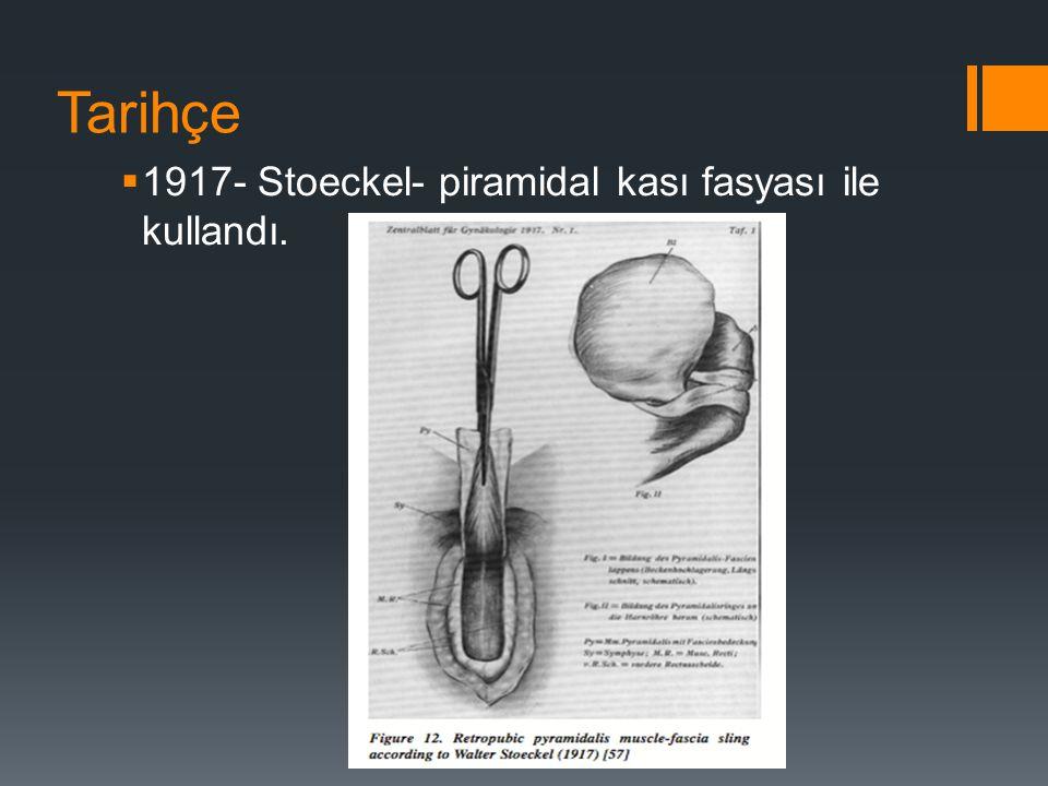 Tarihçe  1917- Stoeckel- piramidal kası fasyası ile kullandı.