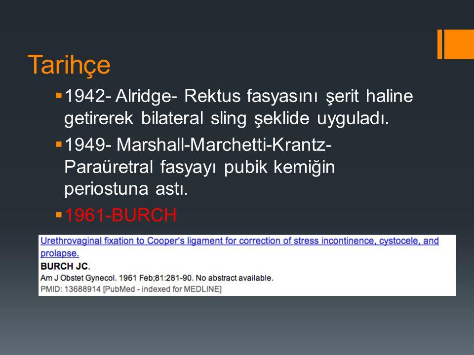Tarihçe  1959- Pareyra- Needle suspension  1973- Stamey- Sistoskopik kontrol  1976- Tanagho Modifikasyonu  1978-McGuire Otolog Rektus Fasya Pubovajinal Sling  1990'lar L/S Burch op.