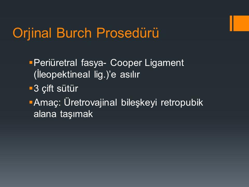 Orjinal Burch Prosedürü  Periüretral fasya- Cooper Ligament (İleopektineal lig.)'e asılır  3 çift sütür  Amaç: Üretrovajinal bileşkeyi retropubik alana taşımak