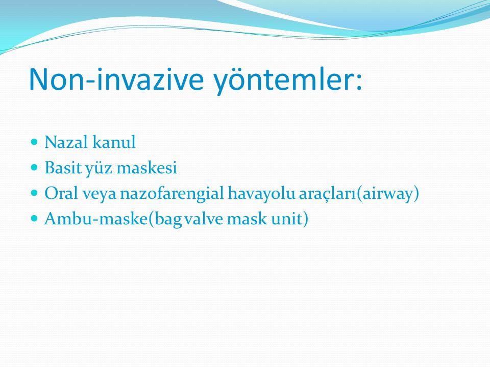 Non-invazive yöntemler: Nazal kanul Basit yüz maskesi Oral veya nazofarengial havayolu araçları(airway) Ambu-maske(bag valve mask unit)