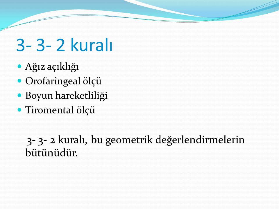 3- 3- 2 kuralı Ağız açıklığı Orofaringeal ölçü Boyun hareketliliği Tiromental ölçü 3- 3- 2 kuralı, bu geometrik değerlendirmelerin bütünüdür.
