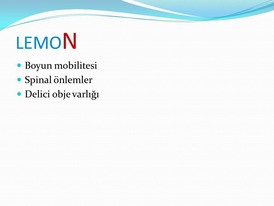 LEMO N Boyun mobilitesi Spinal önlemler Delici obje varlığı