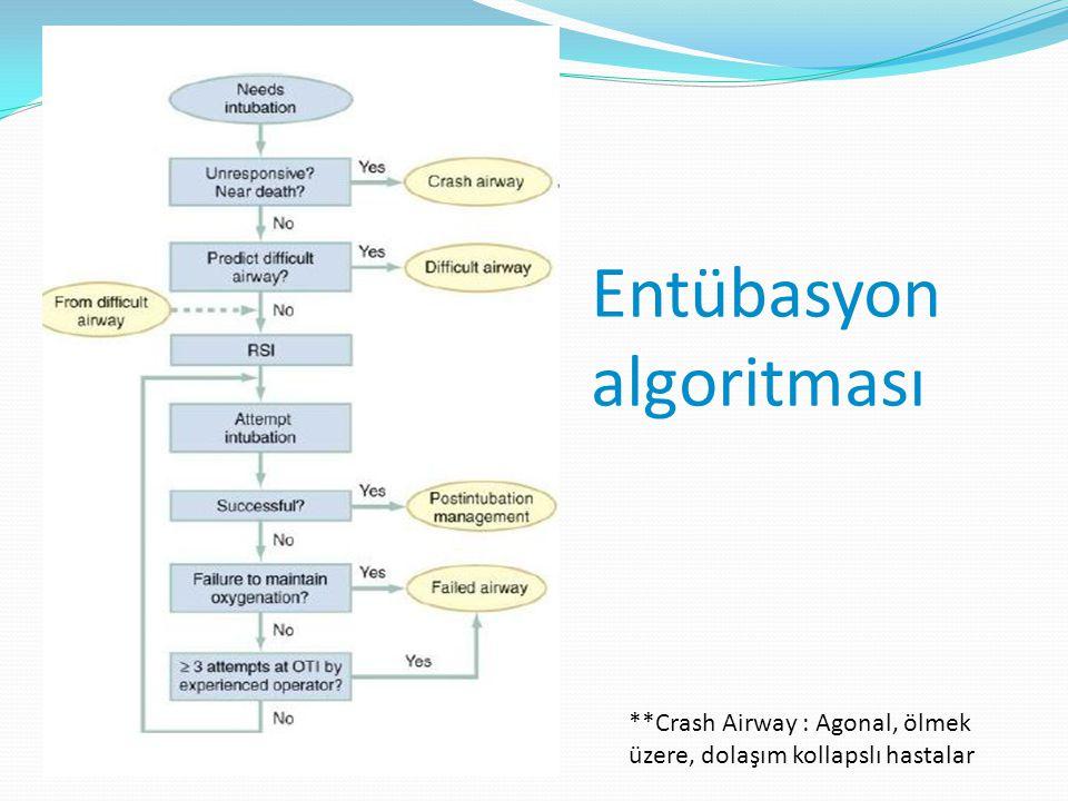 Entübasyon algoritması **Crash Airway : Agonal, ölmek üzere, dolaşım kollapslı hastalar