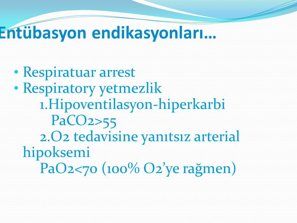 Entübasyon endikasyonları… Respiratuar arrest Respiratory yetmezlik 1.Hipoventilasyon-hiperkarbi PaCO2>55 2.O2 tedavisine yanıtsız arterial hipoksemi