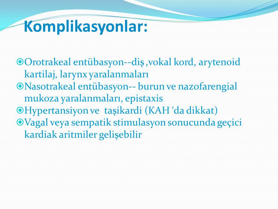 Komplikasyonlar:  Orotrakeal entübasyon--diş,vokal kord, arytenoid kartilaj, larynx yaralanmaları  Nasotrakeal entübasyon-- burun ve nazofarengial m
