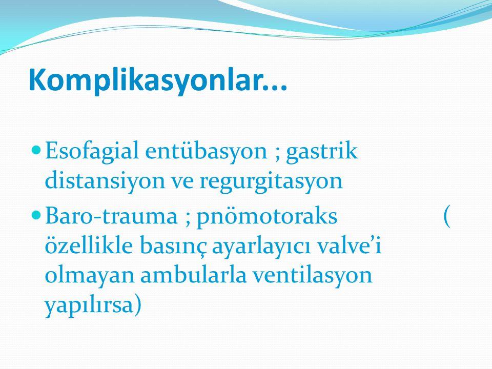 Komplikasyonlar... Esofagial entübasyon ; gastrik distansiyon ve regurgitasyon Baro-trauma ; pnömotoraks ( özellikle basınç ayarlayıcı valve'i olmayan