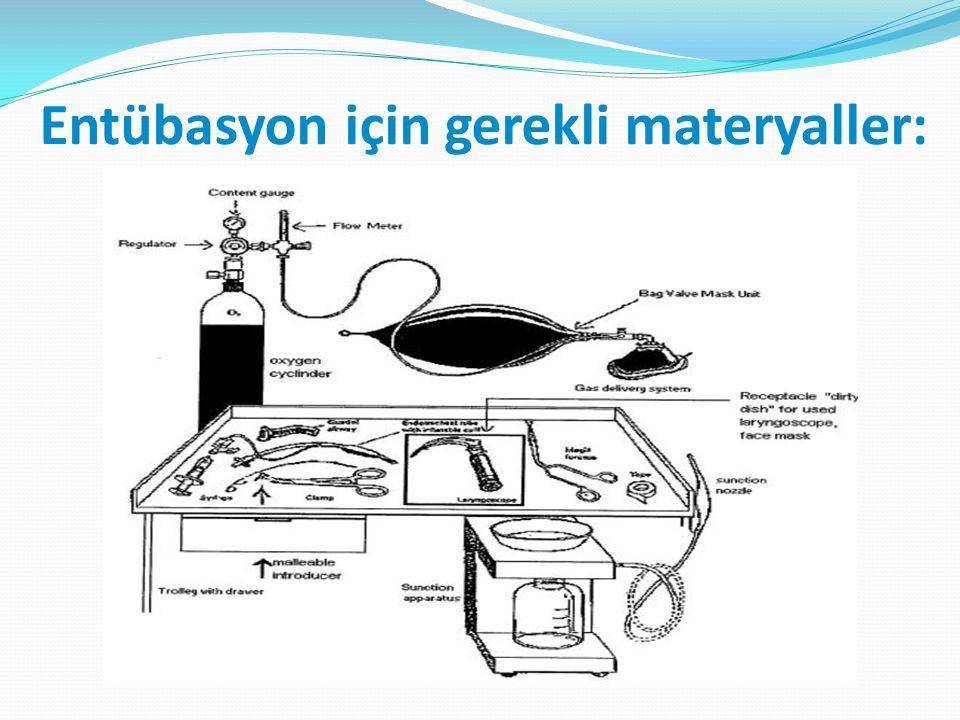 Entübasyon için gerekli materyaller: