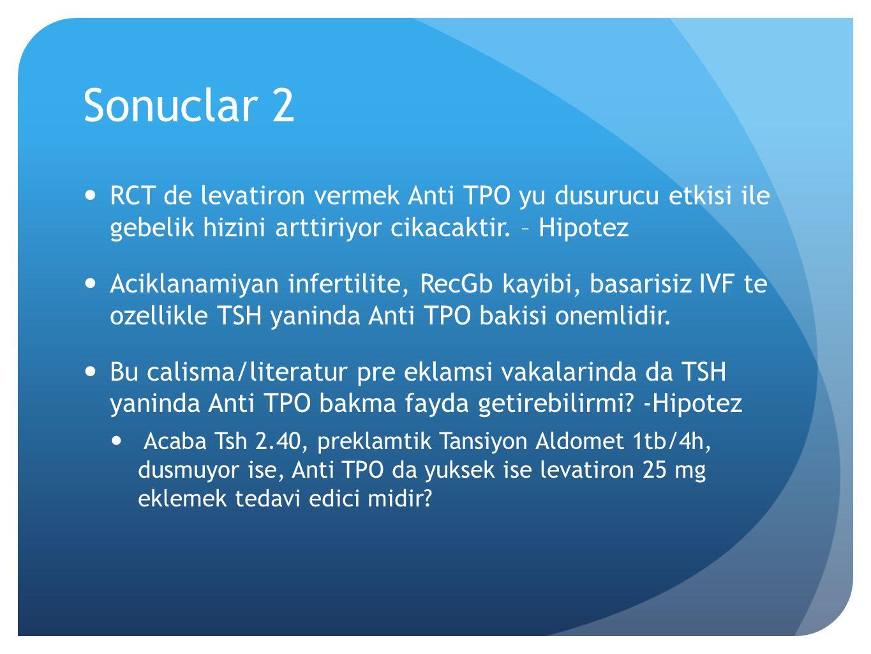 Sonuclar 2 RCT de levatiron vermek Anti TPO yu dusurucu etkisi ile gebelik hizini arttiriyor cikacaktir. – Hipotez Aciklanamiyan infertilite, RecGb ka