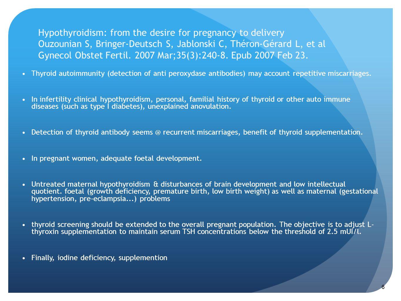 Hypothyroidism: from the desire for pregnancy to delivery Ouzounian S, Bringer-Deutsch S, Jablonski C, Théron-Gérard L, et al Gynecol Obstet Fertil. 2