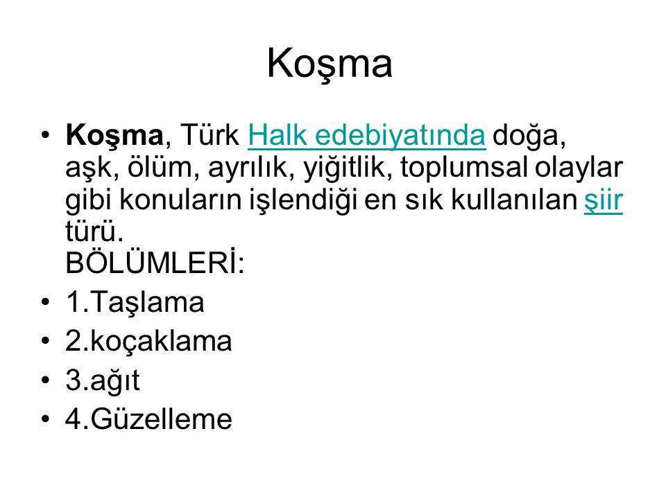 Koşma Koşma, Türk Halk edebiyatında doğa, aşk, ölüm, ayrılık, yiğitlik, toplumsal olaylar gibi konuların işlendiği en sık kullanılan şiir türü.