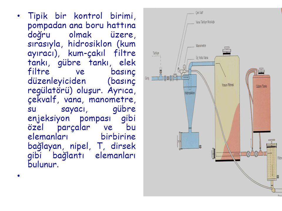 Tipik bir kontrol birimi, pompadan ana boru hattına doğru olmak üzere, sırasıyla, hidrosiklon (kum ayıracı), kum-çakıl filtre tankı, gübre tankı, elek