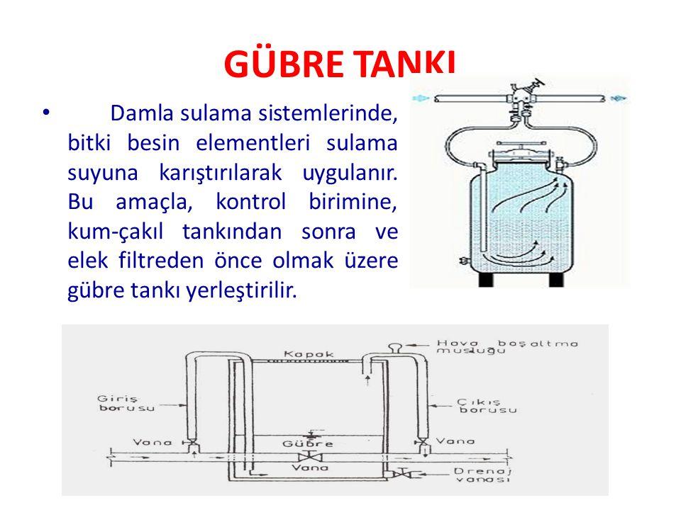 GÜBRE TANKI Damla sulama sistemlerinde, bitki besin elementleri sulama suyuna karıştırılarak uygulanır. Bu amaçla, kontrol birimine, kum-çakıl tankınd