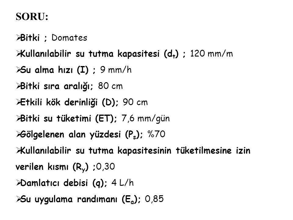 SORU:  Bitki ; Domates  Kullanılabilir su tutma kapasitesi (d t ) ; 120 mm/m  Su alma hızı (I) ; 9 mm/h  Bitki sıra aralığı; 80 cm  Etkili kök de
