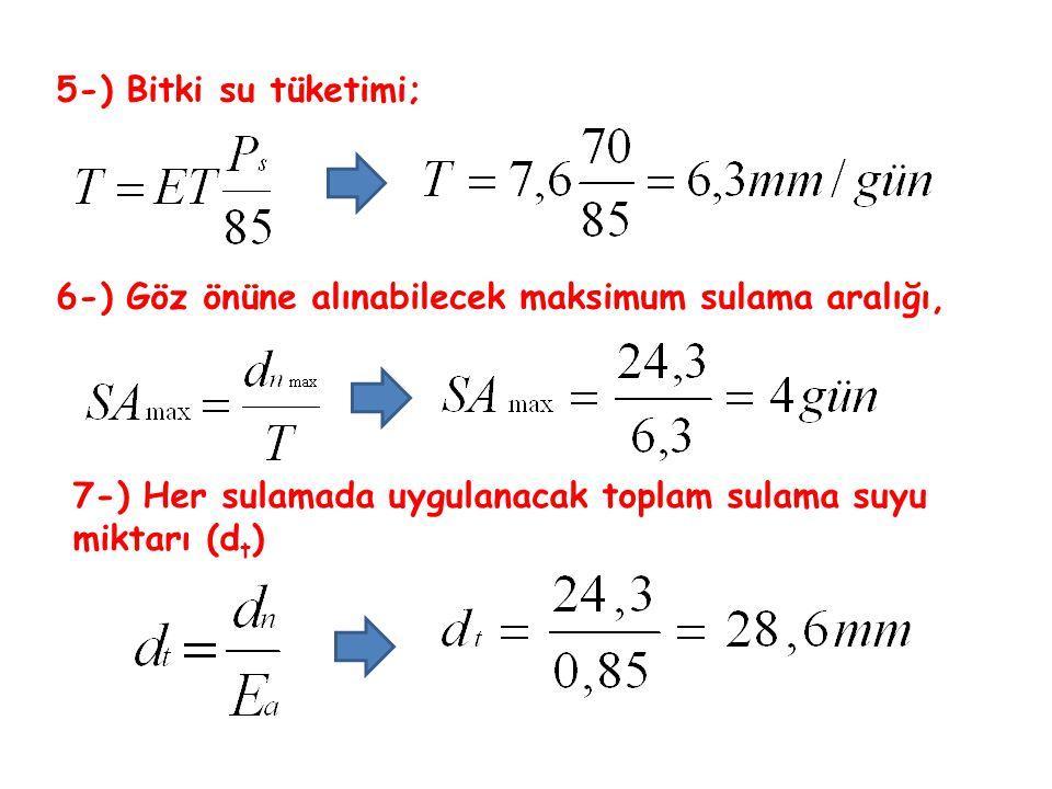 5-) Bitki su tüketimi; 6-) Göz önüne alınabilecek maksimum sulama aralığı, 7-) Her sulamada uygulanacak toplam sulama suyu miktarı (d t )