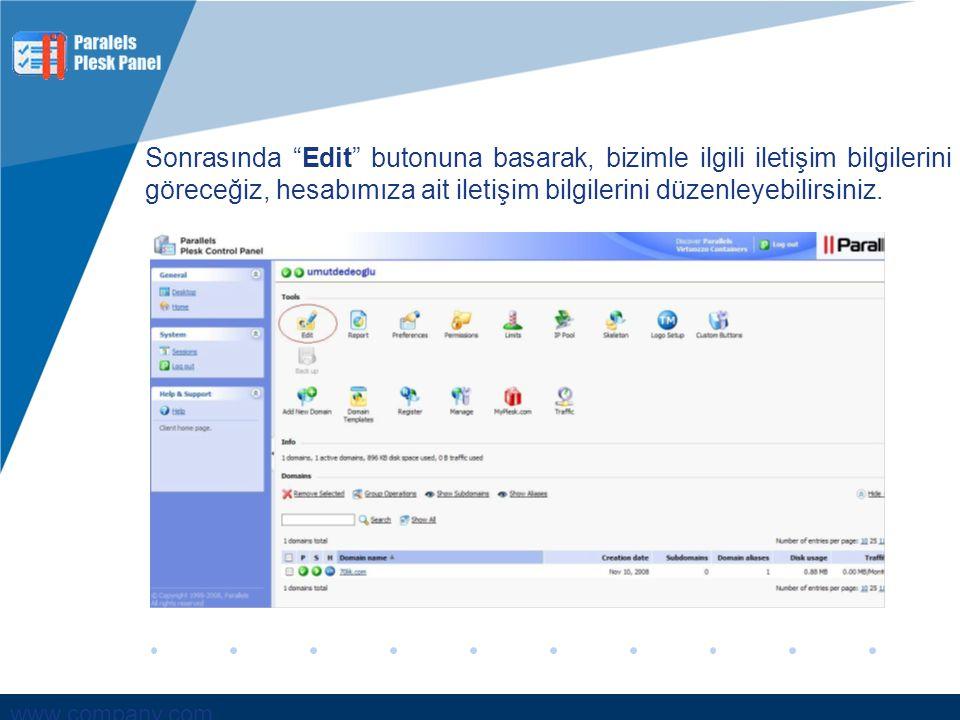 """www.company.com Sonrasında """"Edit"""" butonuna basarak, bizimle ilgili iletişim bilgilerini göreceğiz, hesabımıza ait iletişim bilgilerini düzenleyebilirs"""