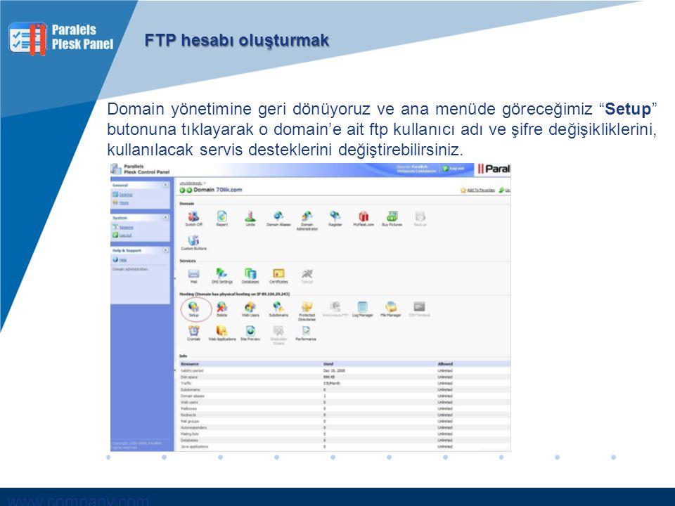 """www.company.com Domain yönetimine geri dönüyoruz ve ana menüde göreceğimiz """"Setup"""" butonuna tıklayarak o domain'e ait ftp kullanıcı adı ve şifre değiş"""