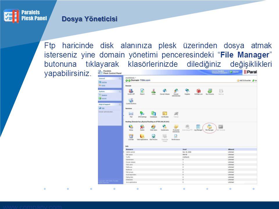 """www.company.com Ftp haricinde disk alanınıza plesk üzerinden dosya atmak isterseniz yine domain yönetimi penceresindeki """"File Manager"""" butonuna tıklay"""