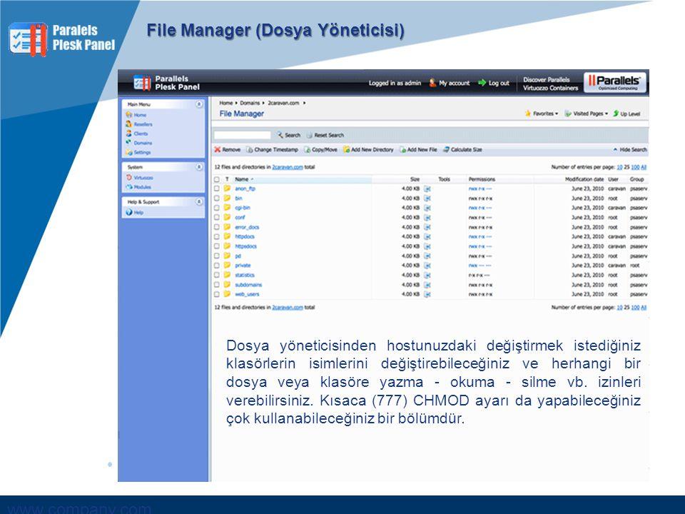 www.company.com File Manager (Dosya Yöneticisi) Dosya yöneticisinden hostunuzdaki değiştirmek istediğiniz klasörlerin isimlerini değiştirebileceğiniz