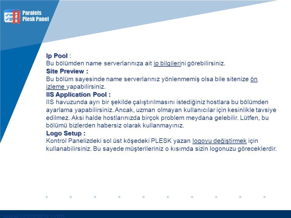www.company.com Ip Pool Ip Pool : Bu bölümden name serverlarınıza ait ip bilgilerini görebilirsiniz. Site Preview : Bu bölüm sayesinde name serverları