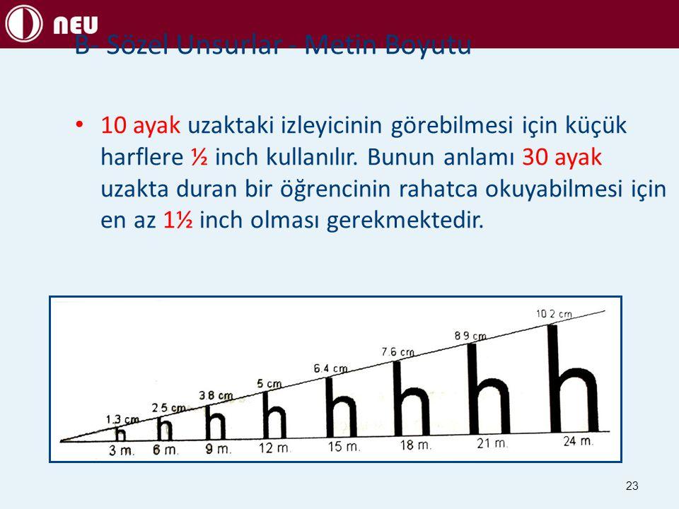23 10 ayak uzaktaki izleyicinin görebilmesi için küçük harflere ½ inch kullanılır. Bunun anlamı 30 ayak uzakta duran bir öğrencinin rahatca okuyabilme