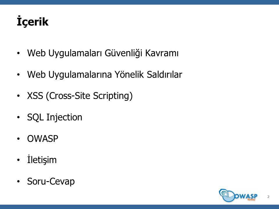 2 İçerik Web Uygulamaları Güvenliği Kavramı Web Uygulamalarına Yönelik Saldırılar XSS (Cross-Site Scripting) SQL Injection OWASP İletişim Soru-Cevap