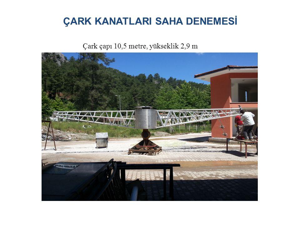 ÇARK KANATLARI SAHA DENEMESİ Çark çapı 10,5 metre, yükseklik 2,9 m