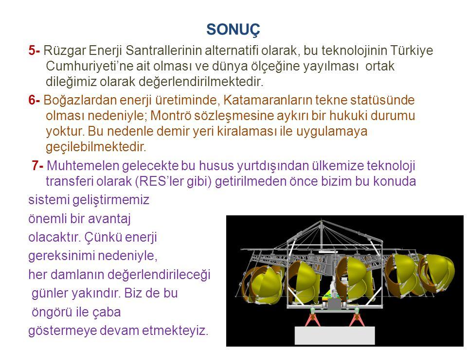SONUÇ 5- Rüzgar Enerji Santrallerinin alternatifi olarak, bu teknolojinin Türkiye Cumhuriyeti'ne ait olması ve dünya ölçeğine yayılması ortak dileğimiz olarak değerlendirilmektedir.