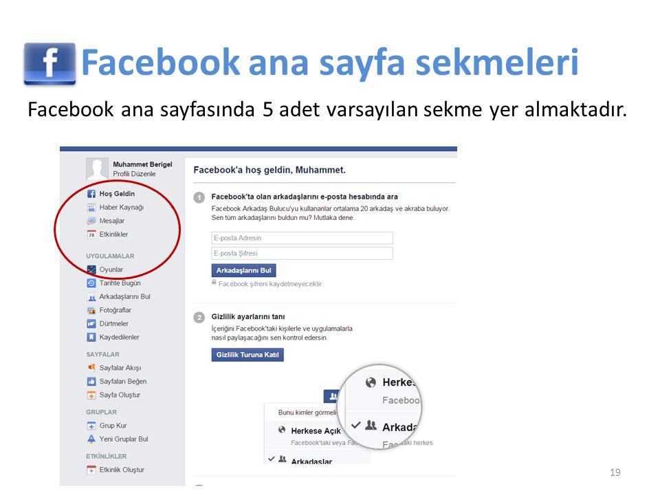 Facebook ana sayfa sekmeleri Facebook ana sayfasında 5 adet varsayılan sekme yer almaktadır. 19