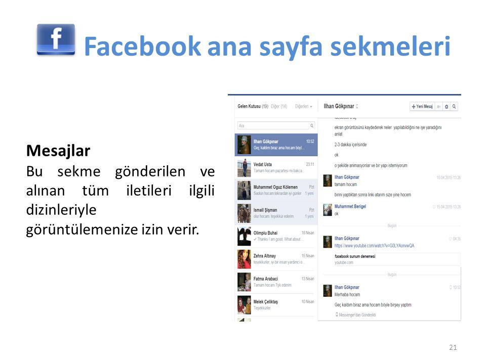 Mesajlar Bu sekme gönderilen ve alınan tüm iletileri ilgili dizinleriyle görüntülemenize izin verir. 21 Facebook ana sayfa sekmeleri