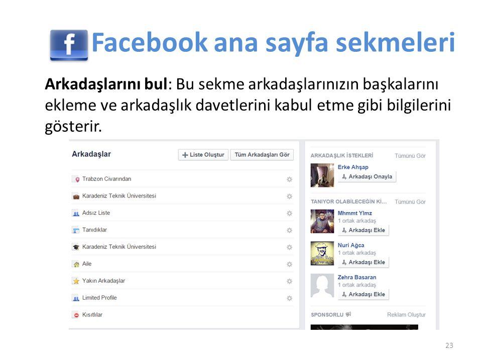 Arkadaşlarını bul: Bu sekme arkadaşlarınızın başkalarını ekleme ve arkadaşlık davetlerini kabul etme gibi bilgilerini gösterir. 23 Facebook ana sayfa