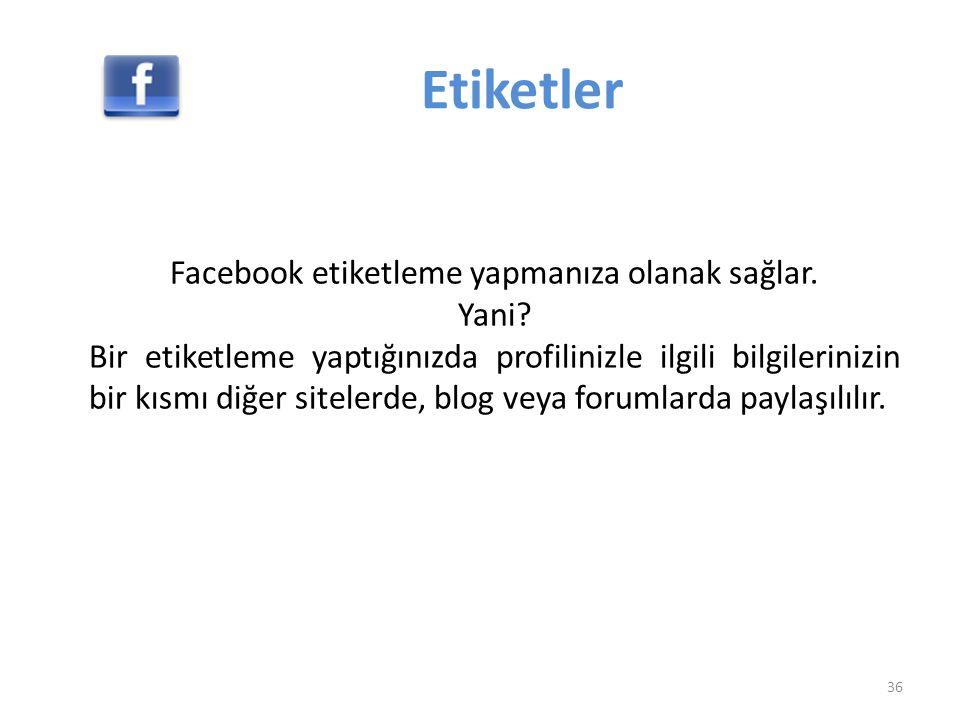 Etiketler Facebook etiketleme yapmanıza olanak sağlar. Yani? Bir etiketleme yaptığınızda profilinizle ilgili bilgilerinizin bir kısmı diğer sitelerde,