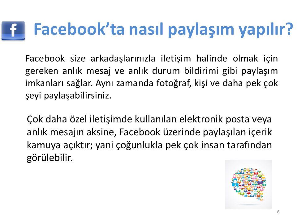 Facebook'ta nasıl paylaşım yapılır? Facebook size arkadaşlarınızla iletişim halinde olmak için gereken anlık mesaj ve anlık durum bildirimi gibi payla