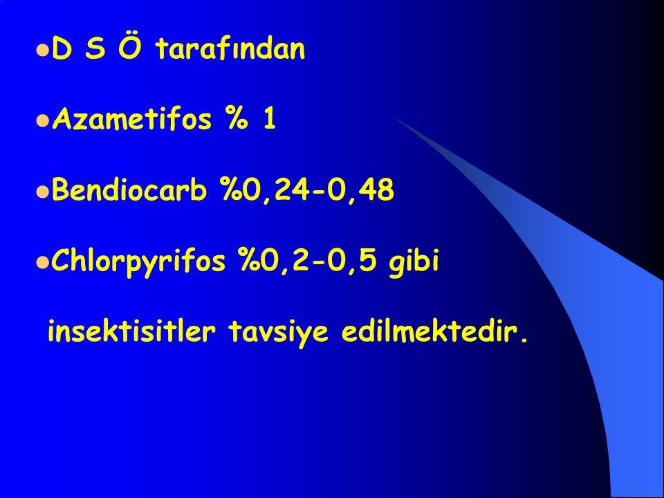 D S Ö tarafından Azametifos % 1 Bendiocarb %0,24-0,48 Chlorpyrifos %0,2-0,5 gibi insektisitler tavsiye edilmektedir.