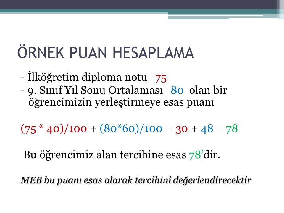 ÖRNEK PUAN HESAPLAMA - İlköğretim diploma notu 75 - 9.