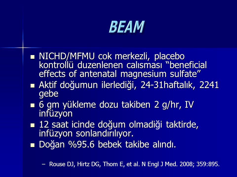 "NICHD/MFMU cok merkezli, placebo kontrollü duzenlenen calısması ""beneficial effects of antenatal magnesium sulfate"" NICHD/MFMU cok merkezli, placebo k"