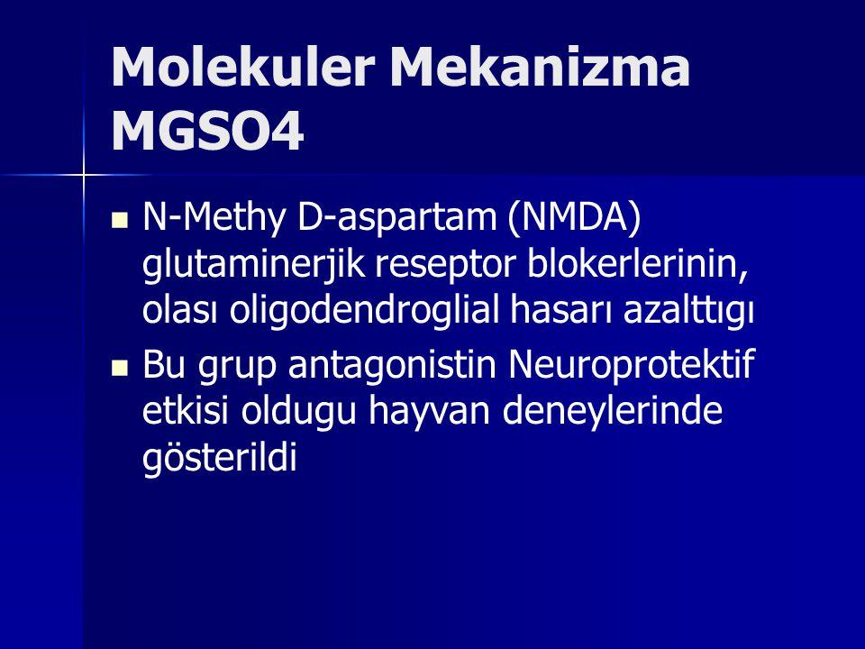 Molekuler Mekanizma MGSO4 N-Methy D-aspartam (NMDA) glutaminerjik reseptor blokerlerinin, olası oligodendroglial hasarı azalttıgı Bu grup antagonistin