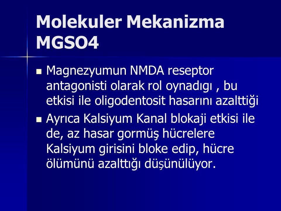 Molekuler Mekanizma MGSO4 Magnezyumun NMDA reseptor antagonisti olarak rol oynadıgı, bu etkisi ile oligodentosit hasarını azalttiği Ayrıca Kalsiyum Ka