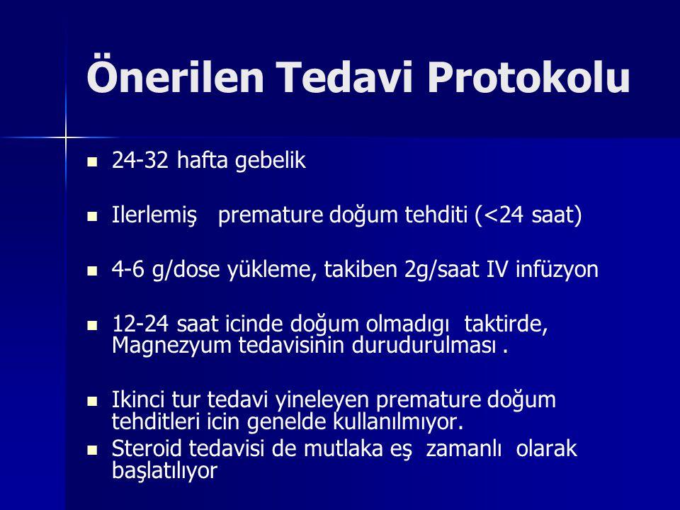 Önerilen Tedavi Protokolu 24-32 hafta gebelik Ilerlemiş premature doğum tehditi (<24 saat) 4-6 g/dose yükleme, takiben 2g/saat IV infüzyon 12-24 saat