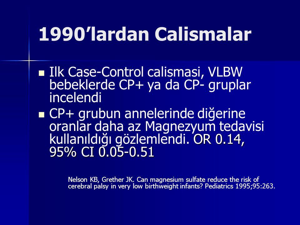 1990'lardan Calismalar Ilk Case-Control calismasi, VLBW bebeklerde CP+ ya da CP- gruplar incelendi OR 0.14, 95% CI 0.05-0.51 CP+ grubun annelerinde di
