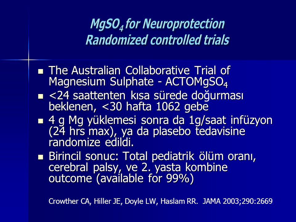 MgSO 4 v placebo: Pediatric mortality 13.8 v 17.1(RR 0.83, 95% CI 0.64-1.09) Pediatric mortality 13.8 v 17.1(RR 0.83, 95% CI 0.64-1.09) Cerebral Palsy 6.8 v 8.2 (RR 0.83, 95% CI 0.54- 1.27) Cerebral Palsy 6.8 v 8.2 (RR 0.83, 95% CI 0.54- 1.27) Combined outcome 19.8 v 24 (RR 0.83.