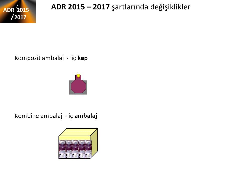 ADR 2015 – 2017 şartlarında değişiklikler Kompozit ambalaj - iç kap Kombine ambalaj - iç ambalaj ADR 2015 2017