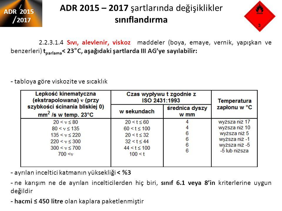 ADR 2015 – 2017 şartlarında değişiklikler sınıflandırma ADR 2015 2017 2.2.3.1.4 Sıvı, alevlenir, viskoz maddeler (boya, emaye, vernik, yapışkan ve ben