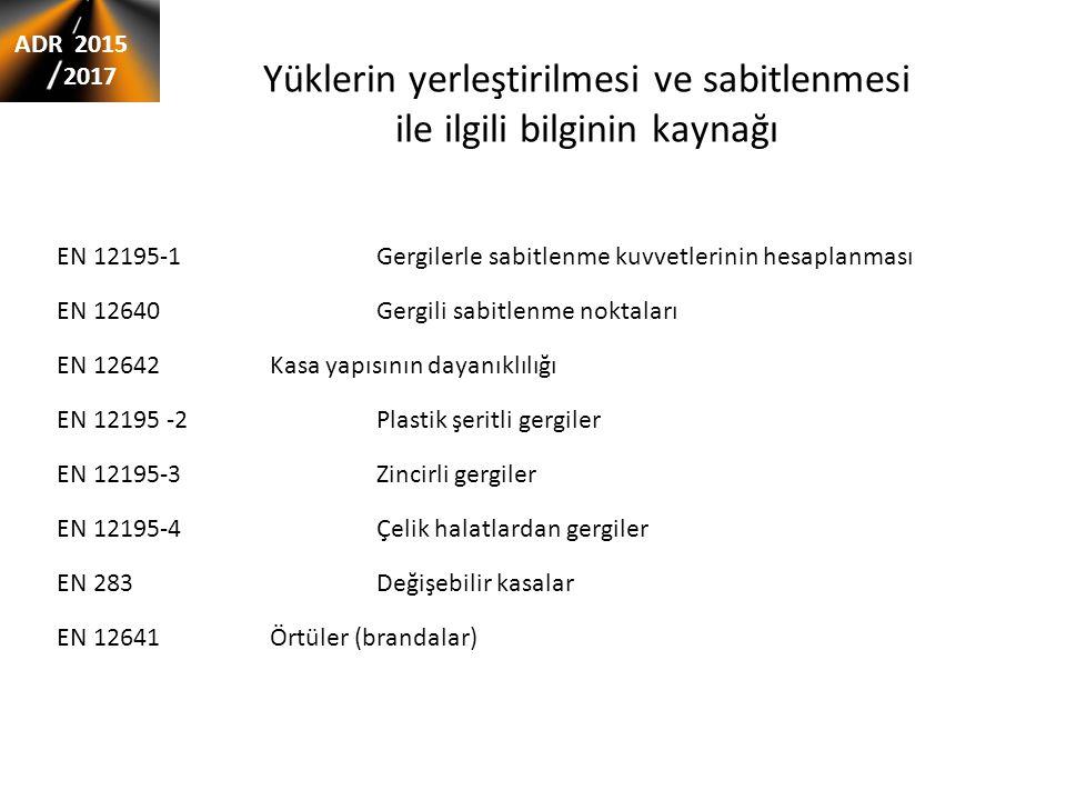 Yüklerin yerleştirilmesi ve sabitlenmesi ile ilgili bilginin kaynağı EN 12195-1 Gergilerle sabitlenme kuvvetlerinin hesaplanması EN 12640 Gergili sabi