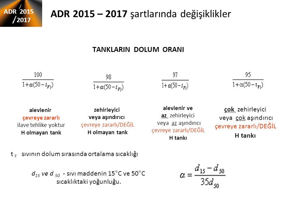ADR 2015 – 2017 şartlarında değişiklikler TANKLARIN DOLUM ORANI ADR 2015 2017 d 15 ve d 50 - sıvı maddenin 15°C ve 50°C sıcaklıktaki yoğunluğu. alevle