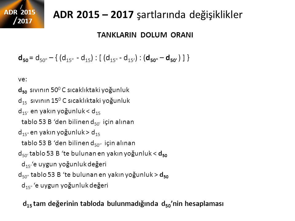 ADR 2015 – 2017 şartlarında değişiklikler TANKLARIN DOLUM ORANI ADR 2015 2017 d 15 tam değerinin tabloda bulunmadığında d 50 'nin hesaplaması d 50 = d