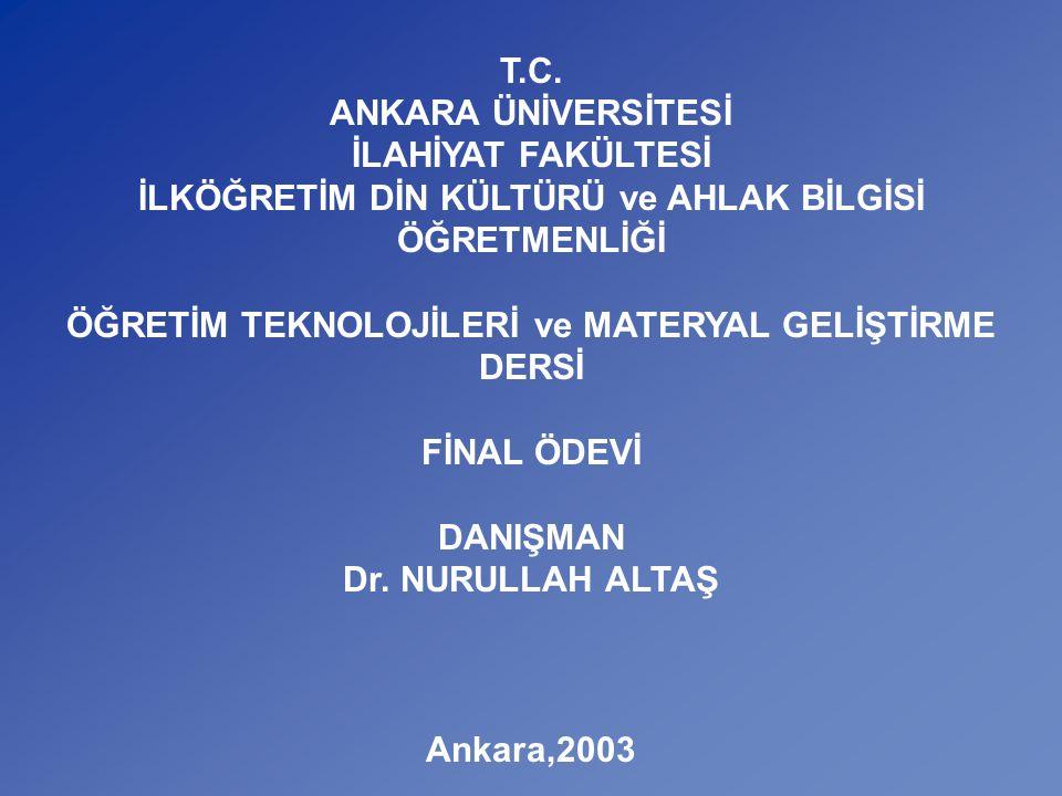 V. SINIF - VI. ÜNİTE PEYGAMBERLERİ TANIYALIM A.Ü.İ.F.
