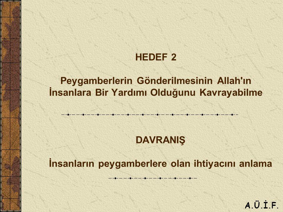 HEDEF 2 Peygamberlerin Gönderilmesinin Allah ın İnsanlara Bir Yardımı Olduğunu Kavrayabilme DAVRANIŞ İnsanların peygamberlere olan ihtiyacını anlama