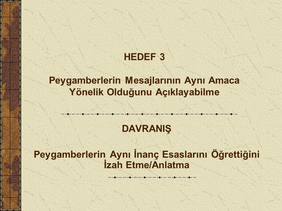 HEDEF 3 Peygamberlerin Mesajlarının Aynı Amaca Yönelik Olduğunu Açıklayabilme DAVRANIŞ Peygamberlerin Aynı İnanç Esaslarını Öğrettiğini İzah Etme/Anlatma