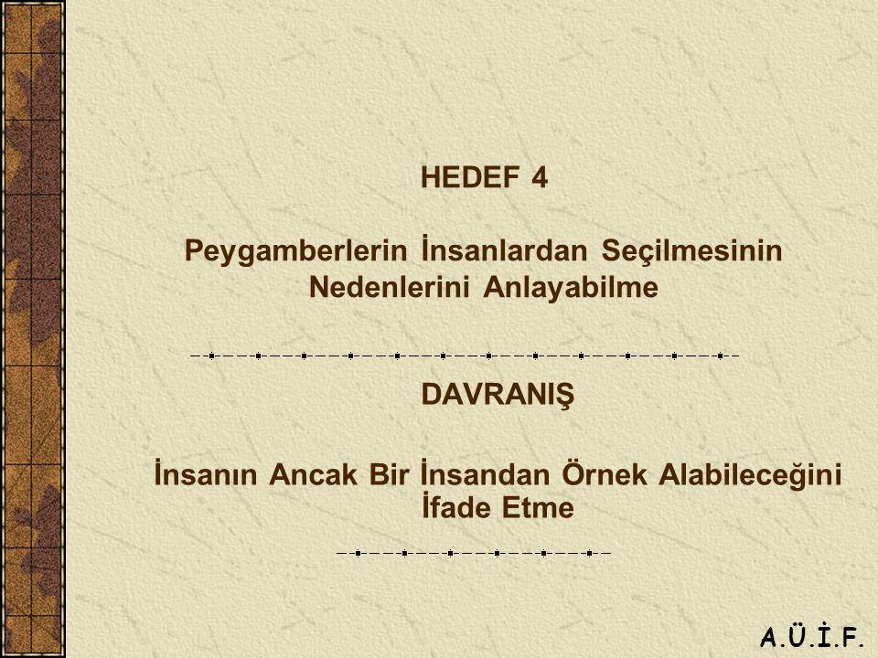 HEDEF 4 Peygamberlerin İnsanlardan Seçilmesinin Nedenlerini Anlayabilme DAVRANIŞ İnsanın Ancak Bir İnsandan Örnek Alabileceğini İfade Etme