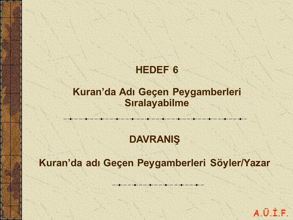 HEDEF 6 Kuran'da Adı Geçen Peygamberleri Sıralayabilme DAVRANIŞ Kuran'da adı Geçen Peygamberleri Söyler/Yazar